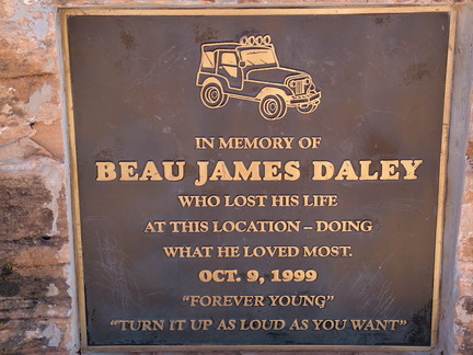 Tribute to Beau James Daley, who died when his jeep plunged off of Gemini Bridges, Utah
